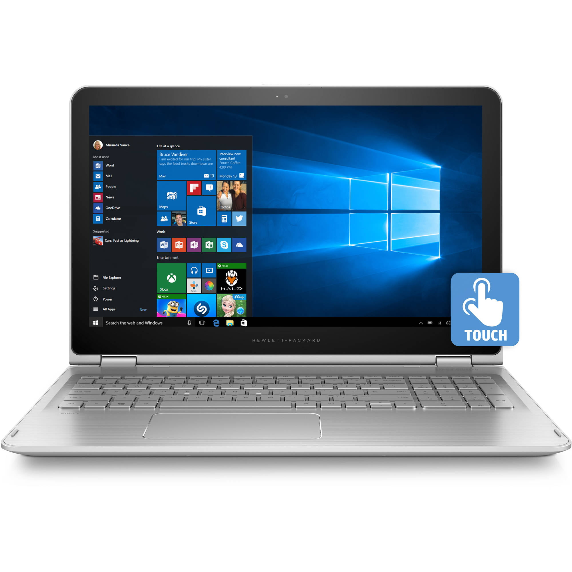 "HP Pavilion 15 bk020wm X360 15 6"" Laptop Touch Screen 2 in 1 Windows 10 Intel Core i5 6200U Processor 8GB Memory 1TB Hard Drive Natural Silver"