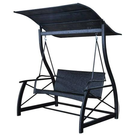 Rattan Garden Swing Chair Garden Leisure Outdoor Hammock Patio Canopy Rocking Chair ()