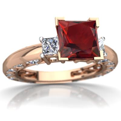 Garnet Art Deco Ring in 14K Rose Gold by