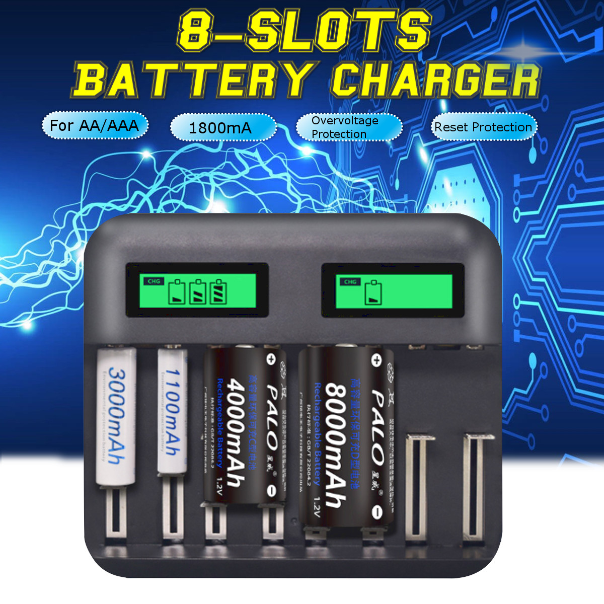 Qiilu 220V Car Battery Charger LCD Display Intelligent Pulse Repair Charger CN Plug