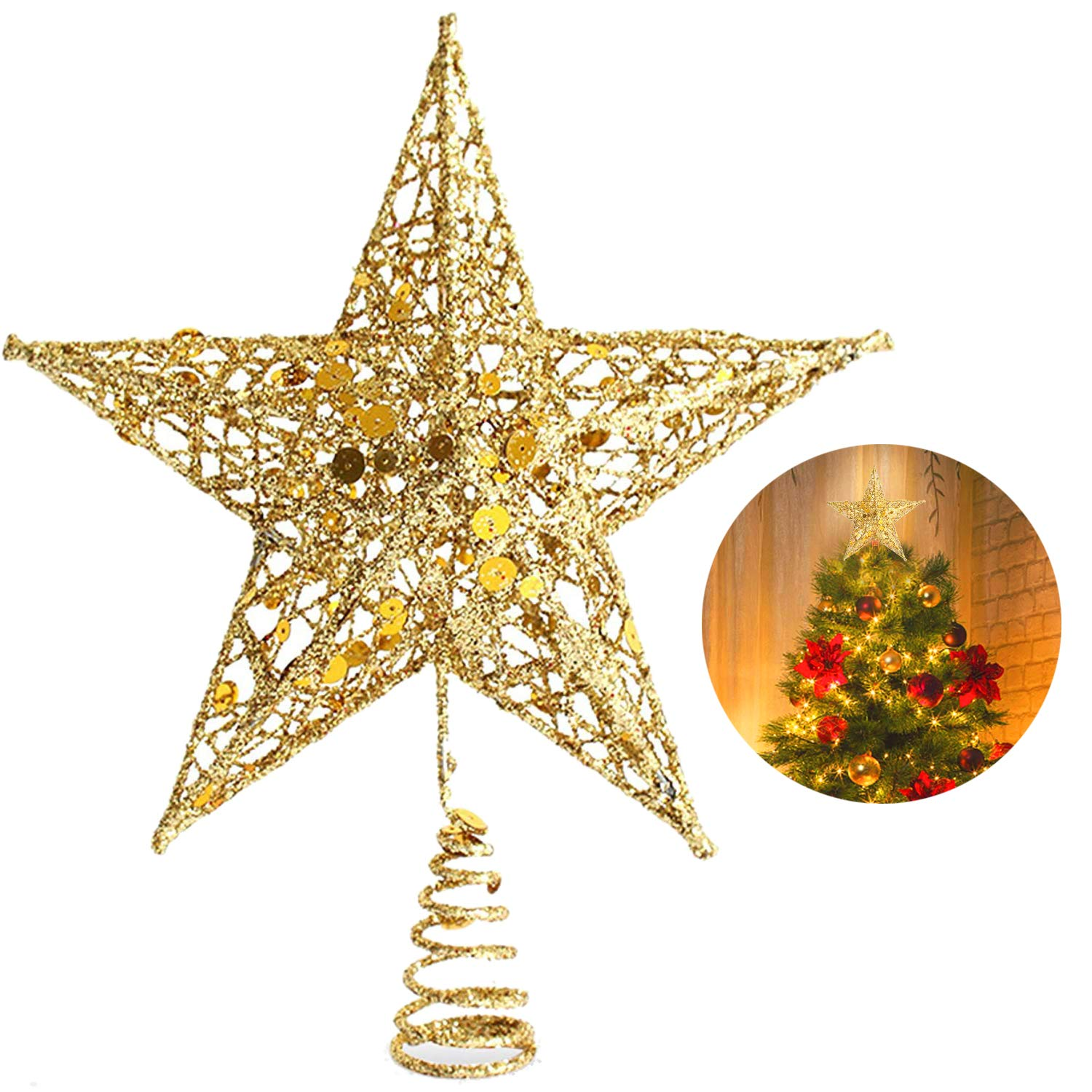 Star For A Christmas Tree: Christmas Tree Star Topper, 10 Inch Xmas Tree Topper Star
