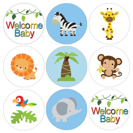 Jungle Baby Shower Stickers, 216 Count - Jungle Animals Baby Shower Candy Favors Safari Baby Shower Party Supplies - 216 Count Stickers