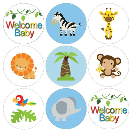 Jungle Baby Shower Stickers, 216 Count - Jungle Animals Baby Shower Candy Favors Safari Baby Shower Party Supplies - 216 Count Stickers - Baby Shower Decorations Jungle Theme