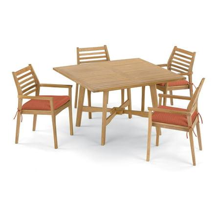 Wexford 5 Piece Natural Shorea Patio Dining Set W/ 48 Inch Square Table & Sunbrella Dupione Papaya Cushions By Oxford Garden