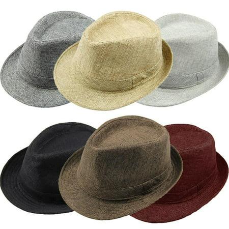 Fashion Men Women Casual Fedora Hat Pinched Crown Beach Sun Cap Panama Hat Unisex - image 2 of 7