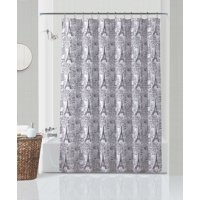 Your Zone Paris Sketch Microfiber Fabric Shower Curtain
