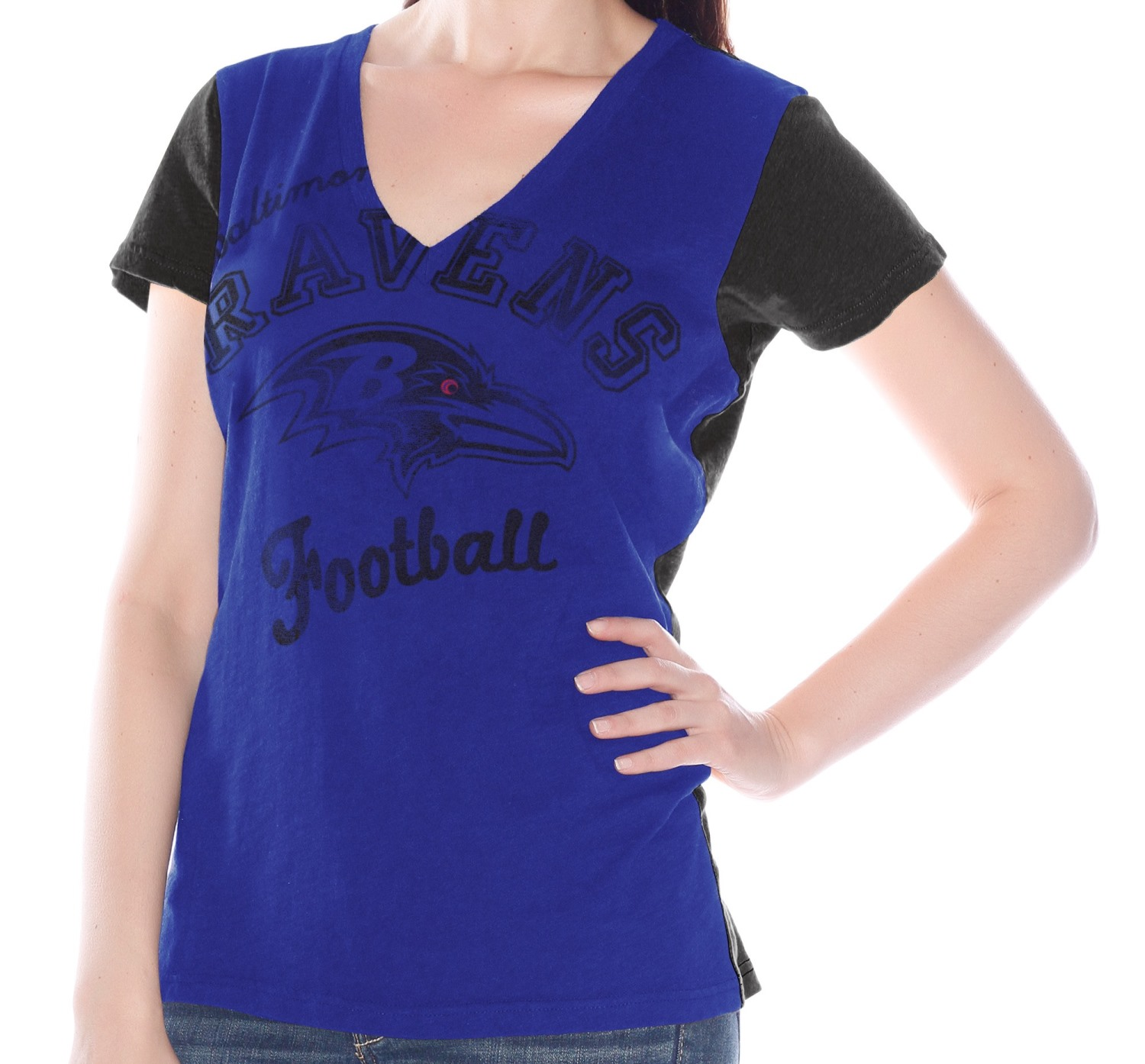 "Baltimore Ravens Women's G-III NFL ""Fair Catch"" V-neck T-shirt"