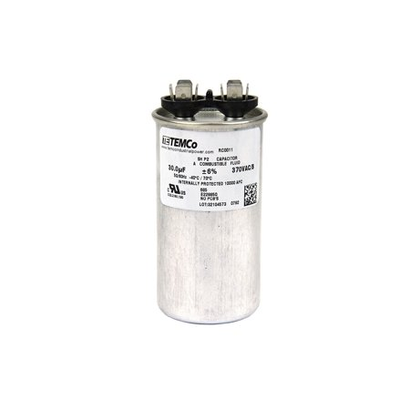 Motor Run Capacitor RC0011 - 30 mfd 370 V VAC volt 30 uf Round HVAC AC Electric, Heavy duty aluminum casing with steel cap. 10,000 AFC Protected By Temco (Hvac Cap)