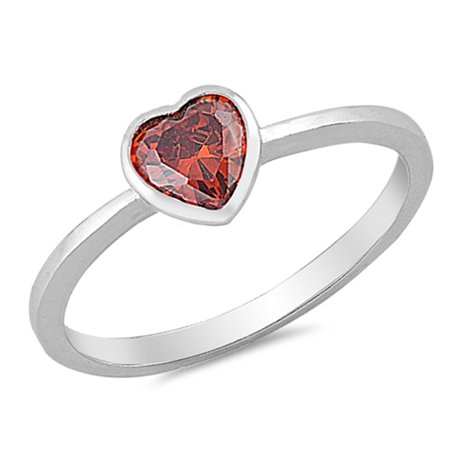 simple solitaire simulated garnet heart promise ring. Black Bedroom Furniture Sets. Home Design Ideas
