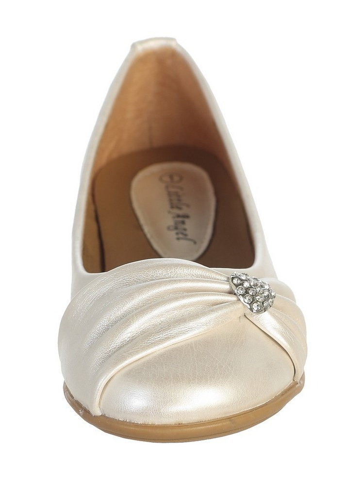 Ivory Rhinestone Heart Girls Flat Dress Shoes 11-4