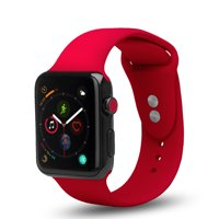 Apple Watch Series 1/2/3/4/Nike+ Soft Silicone Replacement Bands for 40mm/38mm, Dual Locking Secure Stud Wristband - Pink