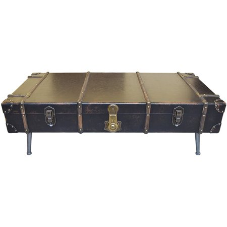 Moe S Davy Jones Faux Leather Trunk Coffee Table In Black