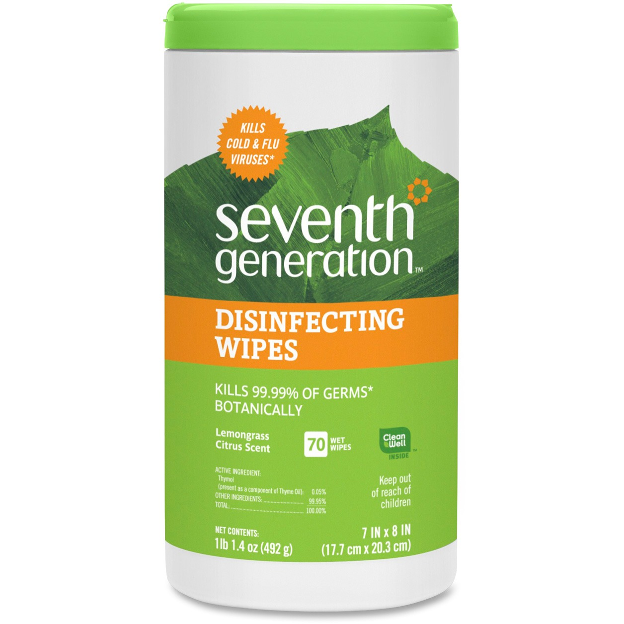 Seventh Generation Disinfecting Wipes Lemongrass Citrus 70 count
