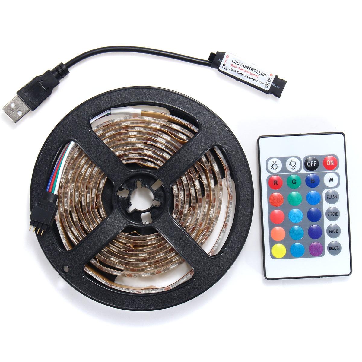 0.5-5M 5V 5050 LED RGB Strip Light Bar TV Back Lighting Kit+USB Remote Control