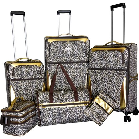 Gold Leopard 6-piece Expandable Spinner Luggage Set