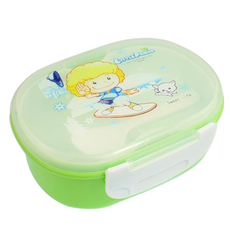 Plastic English Letter Pint Lid Oval Lunchbox Pail Food Container w Spoon