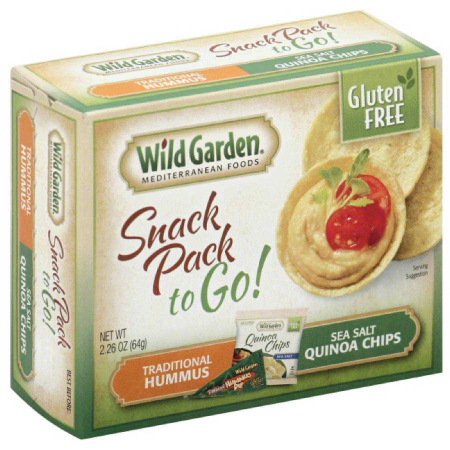 Wild Garden Traditional Hummus & Sea Salt Quinoa Chips Snack Pack, 2.26 oz, (Pack of 6)