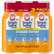 Arm & Hammer Simply Saline Nasal Mist Instant Relief for Everyday Congestion, 3 Pack Tray, 4.5 Oz