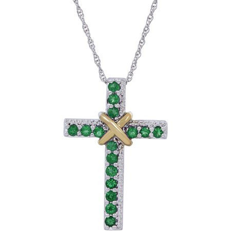 Created Emerald Cross - Duet Timeless Created Emerald Sterling Silver and 10kt Yellow Gold Cross Pendant, 18