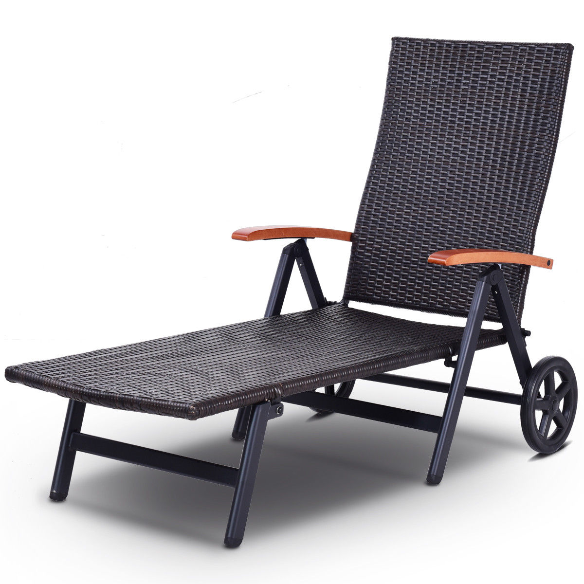 Gymax Folding Back Adjustable Aluminum Rattan Lounger Recliner Chair W/ Wheels Brown