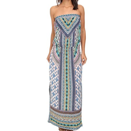 7282236112 Hale Bob - Hale Bob NEW Blue Women Large L Tube Top Smocked Hip Maxi Dress  - Walmart.com