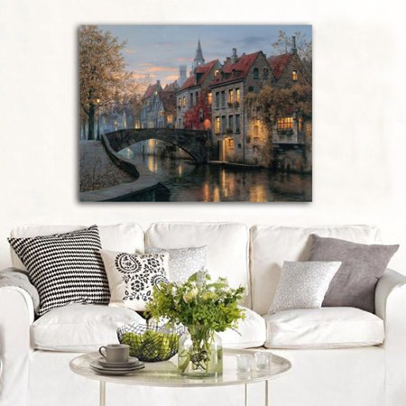 Modern House Oil Painting Print Picture on Canvas Home Wall Art Decor No Frame, 12x16