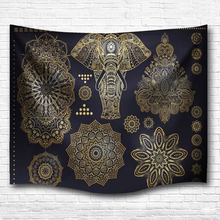 Meigar Indian Mandala Tapestry 60x40 Inches Hippie Elephant Wall Hanging Decor Indian Home Hippie Bohemian Tapestry for Bedroom, College Dorm Room Home Wall Art Decor Bed Cover