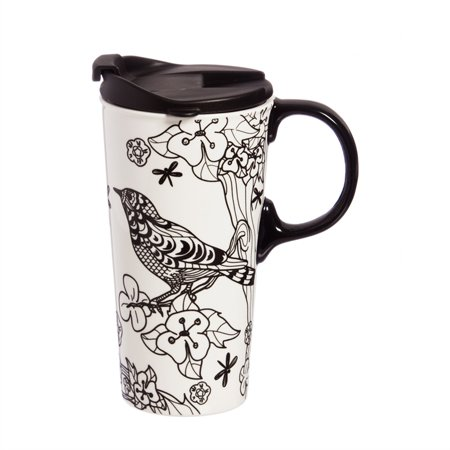 Botanical Cup - Just Add Color Ceramic Travel Cup, 17 oz., Botanical Bird
