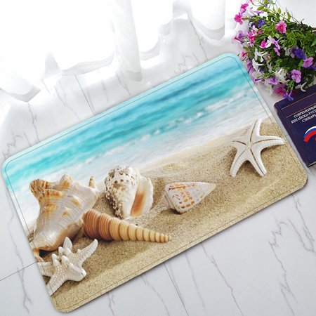 Spa Seashell (GCKG Seashell Starfish Soft Sand Blue Sea Non-Slip Doormat Indoor/Outdoor/Bathroom Doormat 30 x 18 Inches)