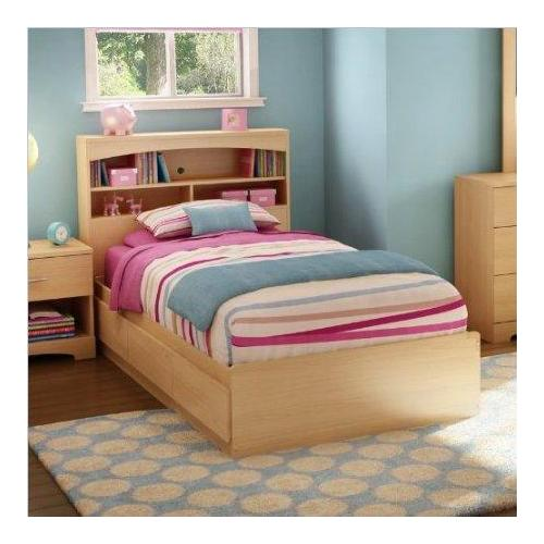kids twin bookcase storage bed set in natural maple finish