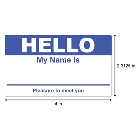 hello my name is stickers name badge 4 x 2 5 16 inch 100 stickers