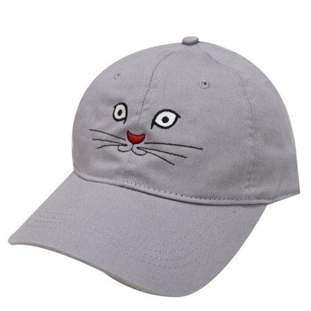 City Hunter C104 Cat Face Cotton Baseball Caps 18 Colors (Light Grey)