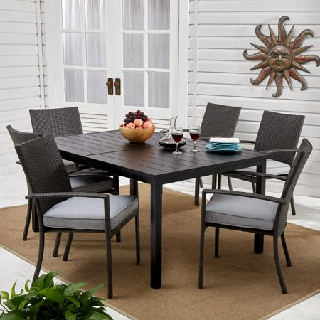 - Better Homes & Gardens Long Ridge 7-Piece Patio Wicker Dining Set with Gray Cushions