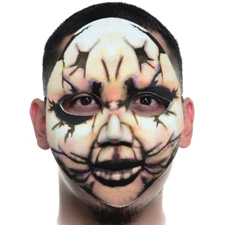 Creepy Fabric Form Fitting Broken Antique Doll Face Mask Costume - Halloween Creepy Doll Makeup