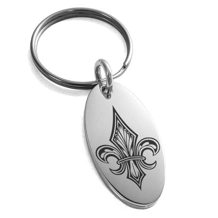 Stainless Steel Knightly Fleur De Lis Engraved Small Oval Charm Keychain Keyring