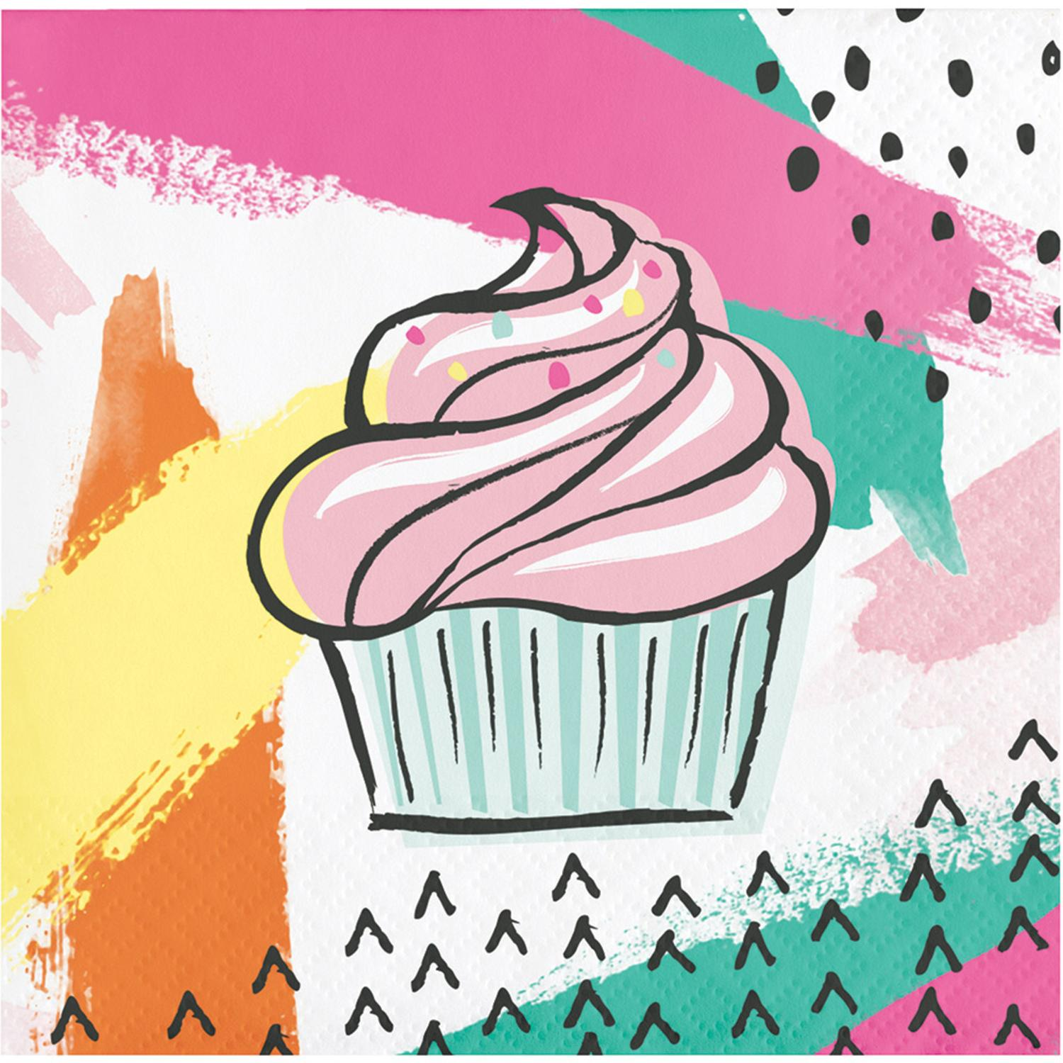 Pack of 192 Multicolored Chic Cupcake Printed Disposable Party Beverage Napkins 5""