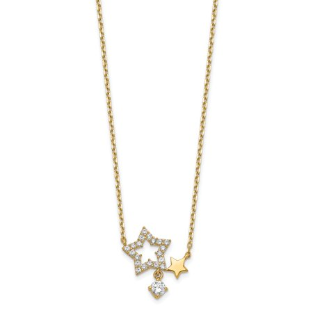 14 Karat Yellow Gold Stars CZ Dangle with 2-inch Extension Necklace 14k Gold Dangle Necklace
