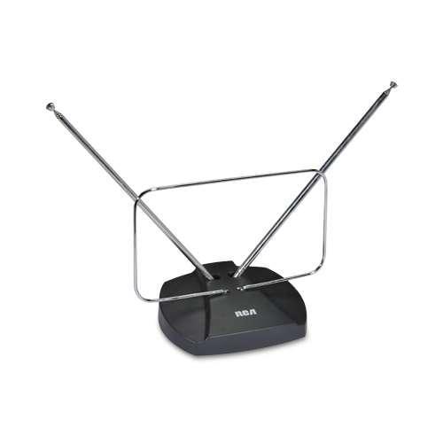 RCA ANT111R RCA Indoor Basic TV Antenna - Receives Digital/Analog TV Broadcasts, FM Radio Signals
