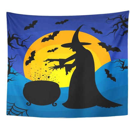 REFRED Old Scary Witch Cooks Potion in Cauldron On Sunset Halloween Cartoon Character Wall Art Hanging Tapestry Home Decor for Living Room Bedroom Dorm 51x60