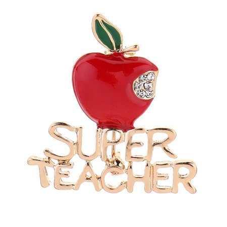 - Fancyleo New Red Super Teacher Xmas Gift Unisex With Crystal Brooch Pin Show Your Love