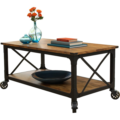 "Better Homes and Gardens Rustic Country Coffee Table for TVs up to 42"", Antiqued Black/Pine Finish"