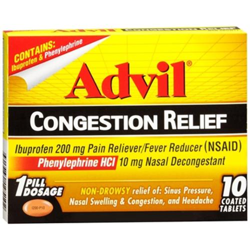 Advil Congestion Relief Coated Tablets 10 Tablets (Pack of 6)