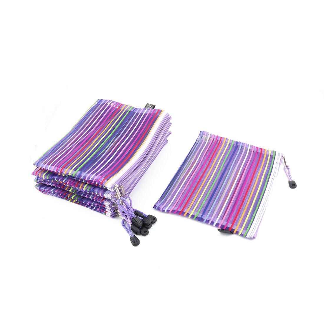 Unique Bargains Meshy Style Stripes Pattern Zip Up A5 Paper Document File Pen Bag Holder 10 Pcs