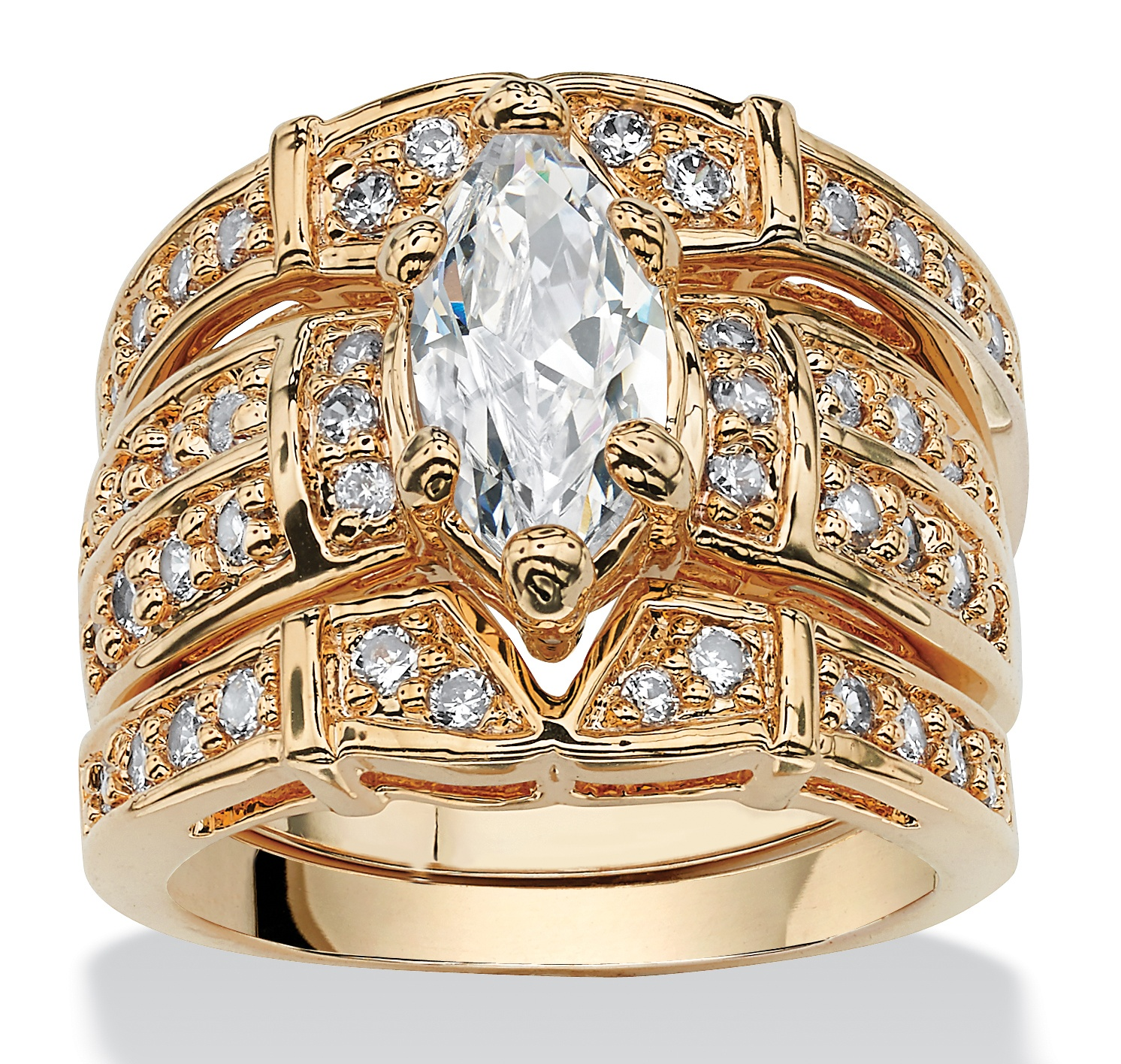 3.05 TCW Marquise-Cut Cubic Zirconia 14k Gold-Plated Bridal Ring Set