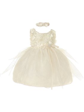 022d5e6d15 Product Image Baby Girls Ivory Rosette Sparkle Tulle Rhinestone Brooch Flower  Girl Dress 6-24M. Cinderella Couture