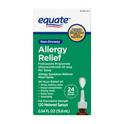 Equate 24-Hour Allergy Relief Nasal Spray, Fluticasone Propionate (Glucocorticoid), 50 mcg Per Spray, Full Prescription Strength, Non-Drowsy, 0.54 fl. Oz.