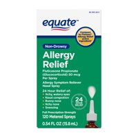 Equate Non-Drowsy Allergy Relief Spray Fluticasone Propionate (Glucocorticoid), 50 mcg Per Spray, 120 Sprays
