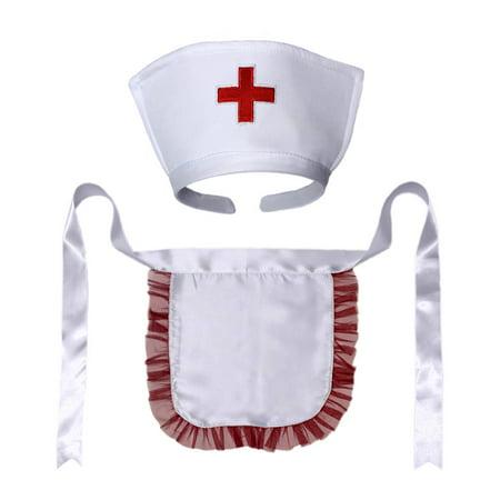 SeasonsTrading Nurse Hat Headband & Apron Costume Set (White/Red)