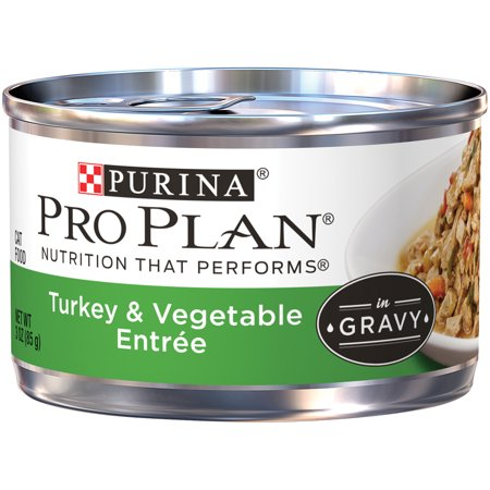 Purina Pro Plan Turkey & Vegetable Entree in Gravy Adult Wet Cat Food - (24) 3 oz. Pull-Top - Halloween Entrees For Adults
