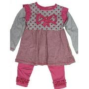 Little Girls Pink Grey Dot Stripe Bow Accent 2 Piece Leggings Set 2T-4T